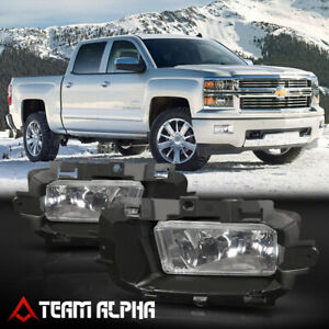 Fits 14 15 Silverado sierra 1500 Chrome Fog Light Lamps W switch harness bezel