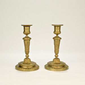 Pair Of Old Or Antique French Gilt Bronze Louis Seize Style Candlesticks Br