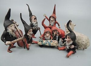 Rare Antique Austrian Bronze Set Snow White 7 Dwarves Brothers Grimm Gnomes Br