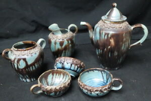 Possibly 1700 S Pottery Teapot Misc Pieces Very Old Unusual Glaze Unmarked