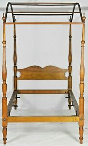 Tiger Maple Carved Tester Canopy Twin Bed Federal Sheraton Style 19th Century