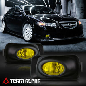 Fits 2004 2005 Acura Tsx Yellow Bumper Fog Light Lamp W Switch Harness Bezel