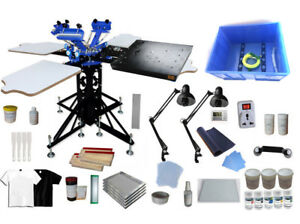 3 Color Screen Printing Kit With Exposure Unit Press Tools Rotary Flash Dryer