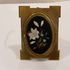 Vintage Floral Pietra Dura Plaque Brass Easel Back On Brass Picture Frame