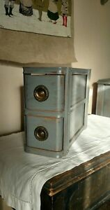 Vintage Treadle Sewing Machine Drawers 2 Painted Distressed Gray Antique Pulls
