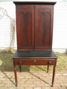 Antique Plantation Desk With Bookcase Top Sheraton Turned Leg Hotel Office
