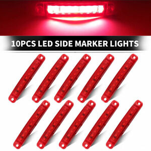 10x Sealed 9 Red Led Side Marker Clearance Light For Truck Trailer Lorry Bus 24v