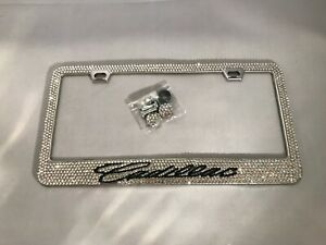 Cadillac Bling Bling License Plate Frame Custom Diamond Rhinestone Metal Base