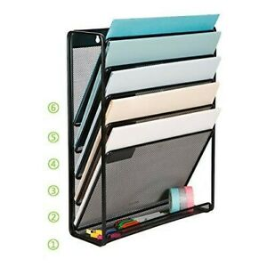 Organizer File Document Letter Storage Metal Mesh Try Holder Wall Mount 5 Tier