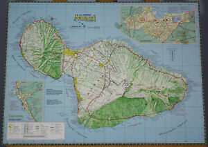 Maui Hawaiian Islands Map Aloha James A Bier Vintage Art Poster Print