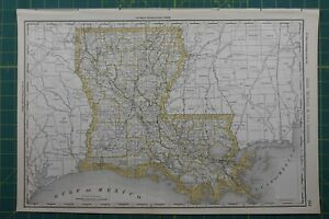 Louisiana Rand Mcnally Antique Vintage 1892 World Business Atlas Map