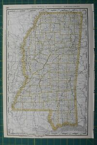 Mississippi Rand Mcnally Antique Vintage 1892 World Business Atlas Map