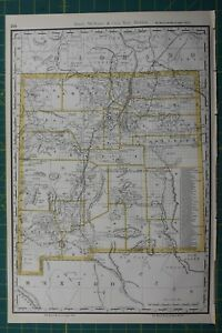 New Mexico Rand Mcnally Antique Vintage 1892 World Business Atlas Map