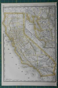 California Rand Mcnally Antique Vintage 1892 World Business Atlas Map