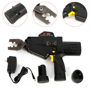 Electric Crimper Tool Cable Terminal Lug Wire Crimping Pliers Battery Powered Us