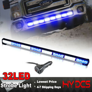 36 32 Led Strobe Lights Bar Emergency Warning Beacon Traffic Advisor Blue White