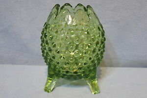 Vintage Fenton Glass Vase Hobnail Colonial Green 3 Toed or Footed 4 3 4quot; T