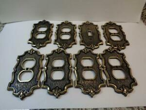 Vtg Csa Brass 1 Switch Plate Cover 7 Outlet Covers 1960s Lot Of 8 Lr36477