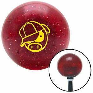 Yellow Rally Pig Red Metal Flake Shift Knob Usa Shifter Auto Brody Hurst Drag Si