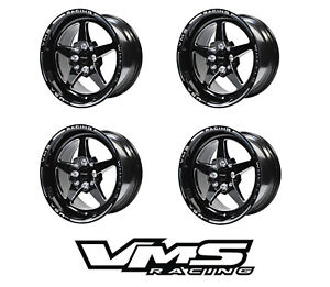 4 15x8 Vms Racing Star 5 Spoke Black Drag Rims Wheels Set Et20 For Honda Prelude