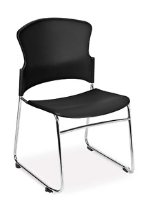 Ofm Core Collection Multi use Plastic Stack Chair Pack Of 4 In Black