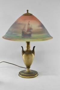 Pairpoint Reverse Painted Lamp Sailing Ship Scene Carlisle Style Shade 18