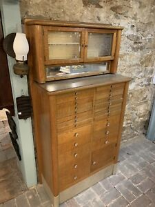 Antique Vintage Oak Dental Medical Cabinet Circa 1910 Harvard Cabinet Company