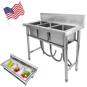 Heavy Duty Three 3 Compartment Stainless Steel Commercial Utility S