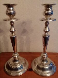 Silver Candle Holders Candlestick Pair Tall 12 By 5 Excellent Beautiful