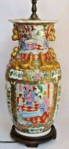 Large Antique Chinese Famille Porcelain Vase Lamp 36 Tall
