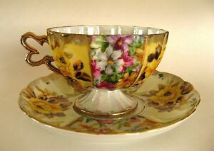 Vintage Japan China Iridescent Footed Tea Cup Saucer Teacup Roses Pearlized