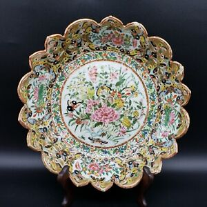Antique Chinese Porcelain Canton Rose Medallion 1000 Butterflies Scalloped Bowl