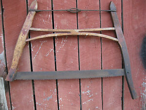 Antique Primitive Wooden Hand Bow Cross Cut Logging Saw Adirondack