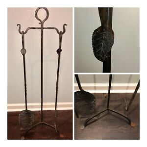 Antique Hand Hammered Wrought Iron Fireplace Hearth Tool Set Metal Twist Leaf