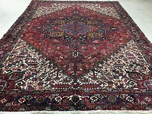 Persian Heriz Tribal Hand Knotted Wool Red Large Monumental Oriental Rug 11 X 15