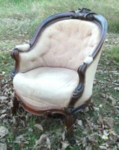 Antique Victorian Hand Carved Walnut Barrel Back Tub Chair