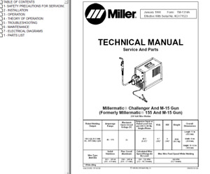 Miller Millermatic Challenger formerly 155 M 15 Gun Service Technical Manual