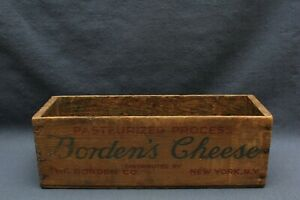 Vintage Borden S Cheese Pasteurized Process Cheese Wooden 12 Box New York