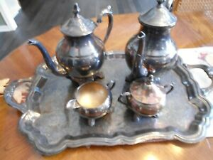 F B Rogers Silver Co Sterling Silver Plate Coffee Tea Pot Set