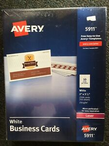 Avery Printable Microperf Business Cards Laser 2 X 3 1 2 White Uncoated 2500 box