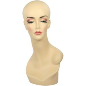 Mn 062 Female Fleshtone Mannequin Head Form W Pierced Ears Hand Painted Makeup
