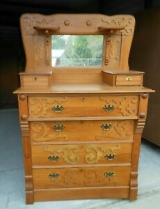 Antique Oak Chest W Mirror And Candle Stands Glove Drawers