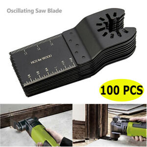 100 Pcs Oscillating Diy Multi Tool 34mm Saw Blades Carbon Steel Cutter Universal