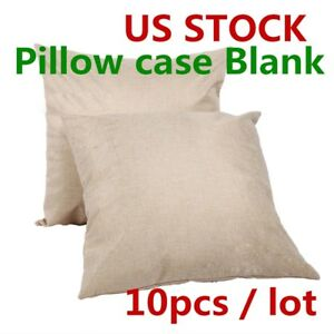 Usa 10pcs Linen Heat Press Printing Sublimation Blank Pillow Case Cushion Cover