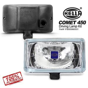 Pair Genuine Hella Comet 450 White Clear Lens Rectangular Driving Lamp Fog Light