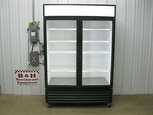 True Gdm 49 ld Glass 2 Door Merchandiser Reach In Refrigerator Cooler W Led