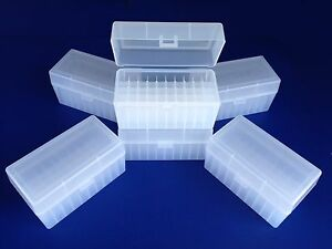 6 pack of 50 round plastic ammo boxes MR-50 Med. rifle 243 308 30-30 22-250