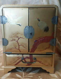 Antique Vtg Asian Cabinet Style Wooden Jewelry Box Lock No Key Crane Decoration