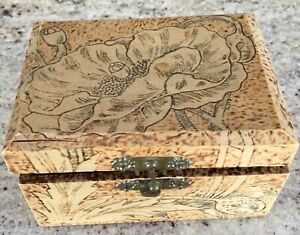 Antique Flemish Art Box 695 Dated 1908 Poppy Pyrography Wood 3 1 2 X 4 1 2