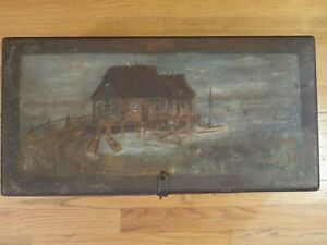Vintage Wood Wooden Box With Hinged Lid Hand Painted Boat House Scene
